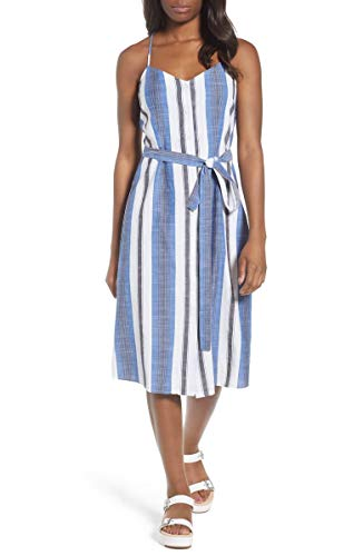 Lucky Brand Women's Stripe Cotton Sundress (Blue, Small) (Sun Brand Dress Lucky)