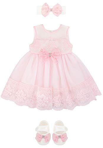 Baby Girl Newborn Pink Embroidered Princess Dress Gown 6 Piece Deluxe Set 0-3 -