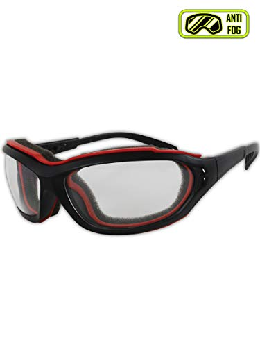 Magid Safety Y85BRAFC Protective Glasses | Sporty Scratch Resistant Safety Glasses with a Removable Flame Resistant Foam Liner & a Dual Venting System - Clear Lens, Removable Strap (1 Pair)
