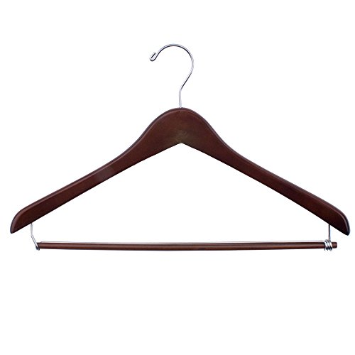 NAHANCO 70-17CH 17'' Concave Suit Hanger with Walnut Finish and Chrome Hardware (Pack of 100) by NAHANCO