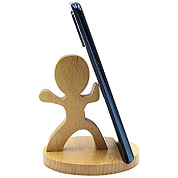 Amazon.com: Amamcy Cute Tai Chi Boy Cell Phone Holder Stand, Wooden Smartphone Desk Holder for ...