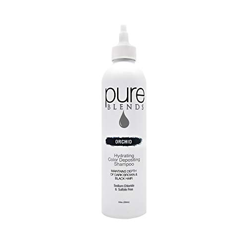 Pure Blends Hydrating Color Depositing Shampoo - Orchid (Dark Brown to Black Hair) 8.5 Ounce - Salon Quality