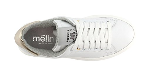 Meline Sneaker No 40 Vitello Bianco-Ghep Lam. Platino yR1pSwo