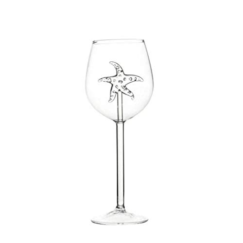 Red Wine Glass, 2pc Red Wine Glasses with Shark Inside Goblet Glass Bar Club Party Clear Glass B, Home Products Sales