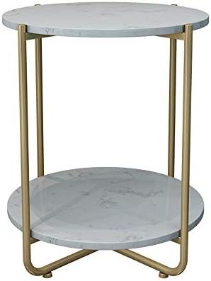 Axdwfd Tafels Marble Round Table Bank In De Woonkamer Side Table Bedroom Nachtkastje Shelf -40cm X 40cm X 50cm