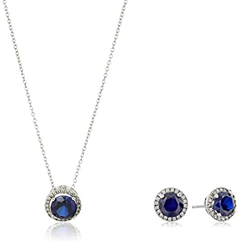 Sterling Silver Created Blue Sapphire and Cubic Zirconia Round Halo Earrings and Pendant Necklace Jewelry Set, - Cubic Zirconia Pendant Jewelry