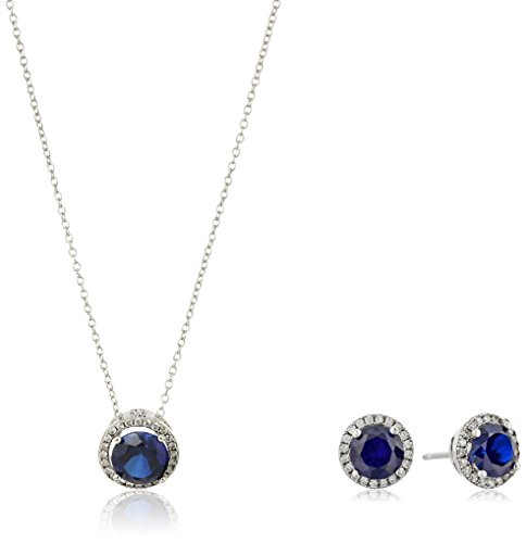 Sterling Silver Created Blue Sapphire And Cubic Zirconia Round Halo Earrings And Pendant Necklace Jewelry Set, 18″