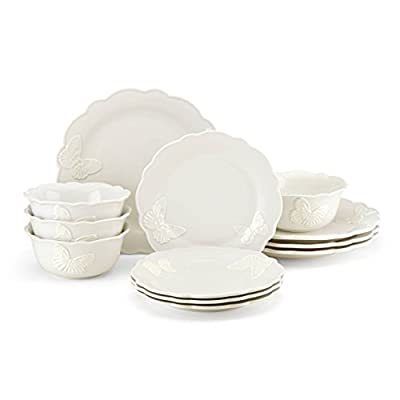 """Lenox Butterfly Meadow Carved Vanilla 12 Piece Dinnerware Set - Crafted of stoneware Dishwasher and microwave safe Diameter of dinner plate: 11""""; Salad plate: 9"""" - kitchen-tabletop, kitchen-dining-room, dinnerware-sets - 31kSIzjX2ML. SS400  -"""