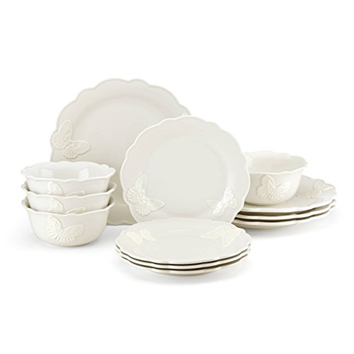 Lenox Butterfly Meadow Carved Vanilla 12 Piece Dinnerware Set