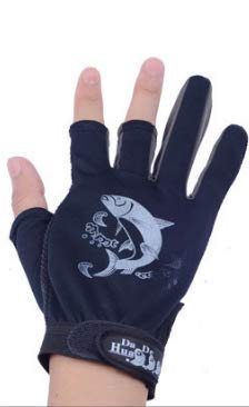 Astro Fishing Gloves Non-Slip Grip Walleye Pike Northern Bass (Black)