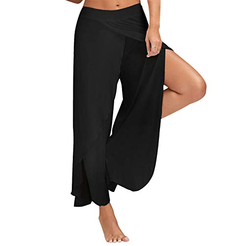 Womens Cropped Yoga Pants High Waist High Slit Flare Palazzo Swing Flowy Baggy Casual Lounge,Large Black