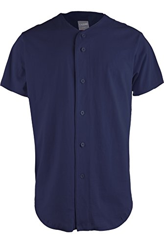 TL Men's Baseball Hipster Button Down Athletic Short Sleeve Jersey Top NAVY XL (Button Down Jersey)