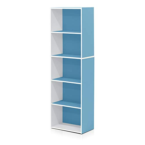 Furinno 5-Tier Reversible Color Open Shelf Bookcase , White/Light Blue 11055WH/LBL ()
