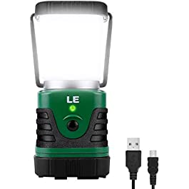 LE LED Camping Lantern Rechargeable, 1000LM, 4 Light Modes, 4400mAh Power Bank, IP44 Waterproof, Perfect Lantern…