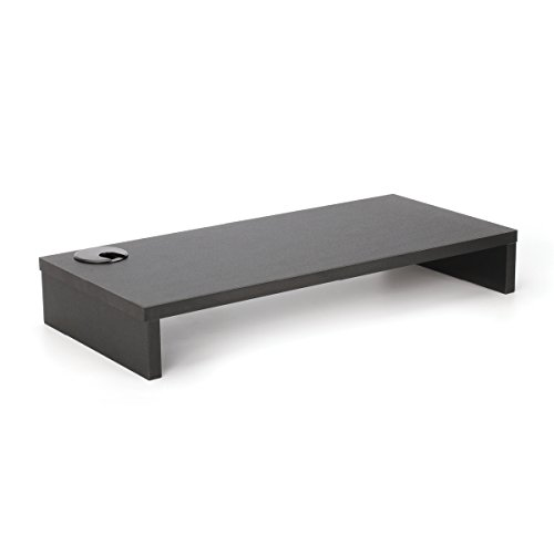 2LB Depot Black Wood Monitor Stand Riser with Cable Hole, 9.5