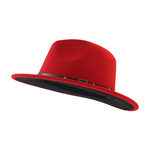(DOSOMI Wool Felt Jazz Fedora Hat Men Women Patchwork Leather Band Wide Brim Felt Hat Panama Trilby hat,Red)