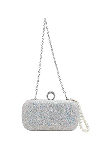 BABEYOND mujer clutches carteras de mano brillante lentejuelas fluorescentes un anillo de embrague fiesta de noche bolso de embrague Blanco