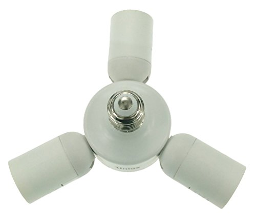 Uniox 3 in 1 Lamp sockets Adapter, Medium Base E26 / E27,Lampholder Horizontal Splitter White