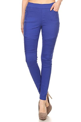 Jvini Women's Ultra Stretch Pull-on Moto Pleated Jegging Pants L Royal ()