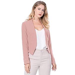 Allegra K Women's Collarless Work Office Business Casual Cropped Blazer 26