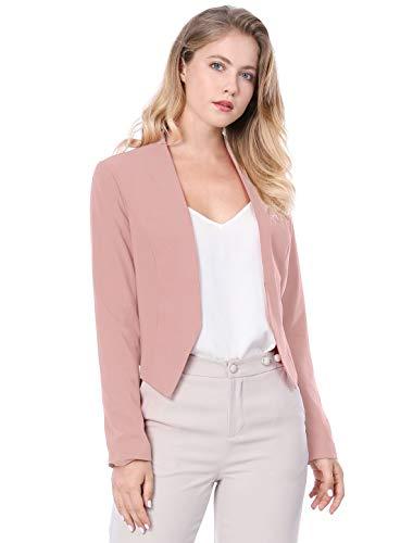 Allegra K Women's Collarless Work Office Business Casual Cropped Blazer 14