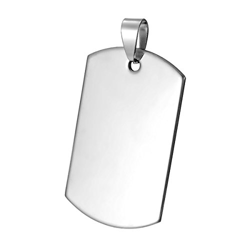 10pcs Silver Tone Stainless Steel Blank Stamping Tags Polished Charm Pendants 4x2.5cm