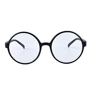 Agstum Retro Round Glasses Frame Clear Lens Fashion Circle Eyeglasses 52mm (Matte black, 52mm)