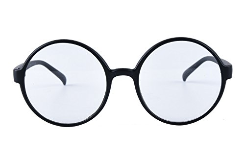 Agstum Retro Round Glasses Frame Clear Lens Fashion Circle Eyeglasses 52mm (Matte black, - Frames Round Glasses
