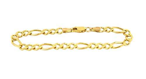 Bracelet Real 10K Yellow Gold Hollow Figaro Women 2.5mm, 7 to 10