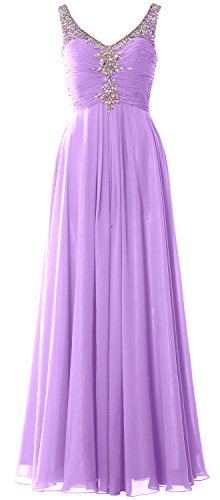 MACloth Women Long Prom Dress Crystals Chiffon V Neck Formal Party Evening Gown Lavanda