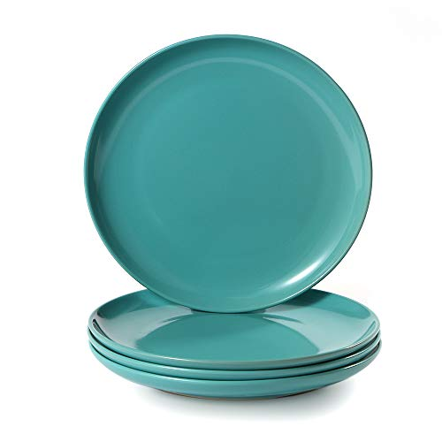 CeramicHome Porcelain Salad Plate(7-Inch, 4-Piece), Stoneware Teal Blue Lunch/Dessert Plates Set for 4