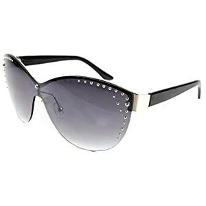 """Madison"" Studded Shield Fashion Sunglasses with Light Tint for Stylish Women (Black and Chrome)"