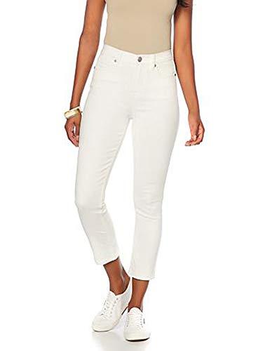 Lynwitkui Womens High Waisted Skinny Slim Fit Pants Butt Lifting Stretch Straight Leg Capri Denim Pants White