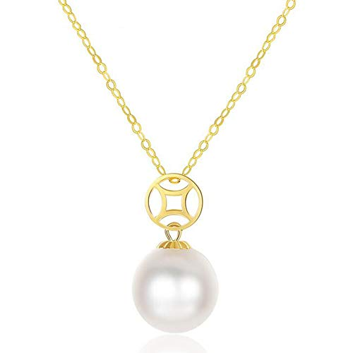 (XPDX.ZB@ Women Necklace/Pendant with Chain 18 ct/750 Gold with White Akoya Pearl/Black Tahitian Pearl Quality Round Pearl with Jewelry Box is Included for Free,White)