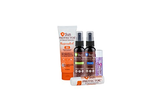 Travel Pack - Includes Travel Size: Sun Protector Mineral Sunscreen Lotion(3oz) + All Natural, DEET Free Mosquito(2oz) & Tick Repellents(2oz) + Pucker Protector Lip Balm Beeswax Beachbum SPF 15