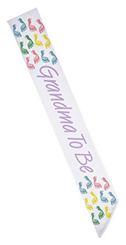 Darice 1405-GTB Grandma To Be Sash White with Purple Lettering & Pastel Accent Accent Sash
