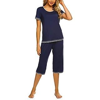 Ekouaer Women's Sleepwear Short Sleeves Top with Pants Pajama Set