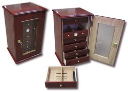 Prestige Import Group 7 Drawer Desk Top Cigar Humidor - Cherry Finish - 210 Capacity by Prestige Import Group (Image #2)