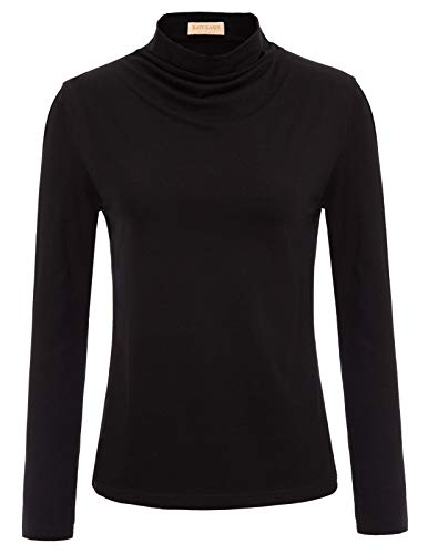 Kate Kasin Women's Cotton Mock Neck Long Sleeve Top Tanks Turtleneck Blouse (XL,Black) ()