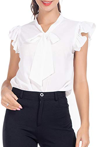 (AUQCO Women's Bow Tie Blouse Casual Ruffle Cap Sleeve Floral Top Shirts White)