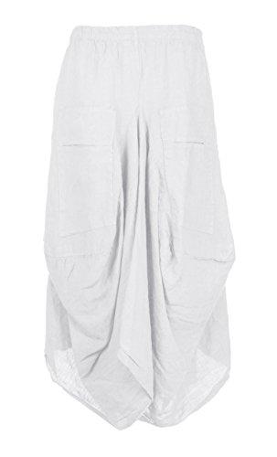 (Ladies Womens Italian Lagenlook Elasticated 2 Slit Pocket Parachute Tulip Long Linen Maxi Skirt One Size (White, One Size))