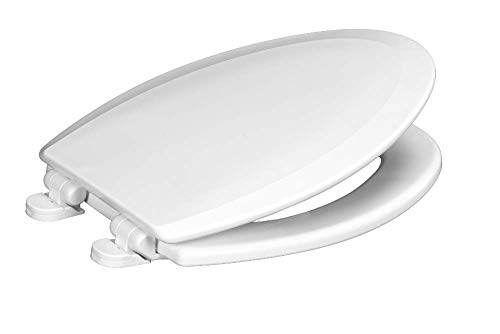 Wood Elongated Toilet Seat - Centoco 900SC-001 Elongated Wooden Toilet Seat Featuring Safety Close, Heavy Duty Molded Wood with Centocore Technology, White