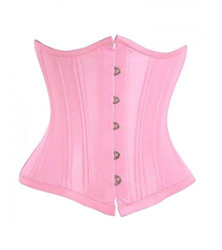 ガラス属する劇的Baby Pink Satin DoubleBone Goth Burlesque Waist Cincher Bustier Underbust Corset