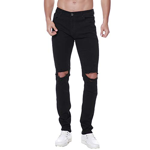 Previn Men's Ripped Denim Jeans Distressed Slim Trousers Destroy Holes Stretch Biker Pants Style4 32W x 30L (Black Jeans With Holes In Knees Mens)