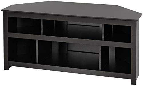 Black Vasari Corner Flat Panel Plasma / LCD TV Console (Flat Stands Screen Wooden Tv)