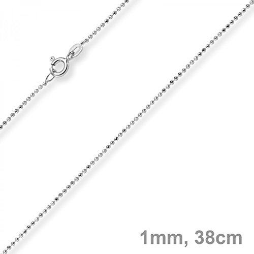 1mm Chaîne Boule diamanté Chaîne Or Collier en or blanc 750, 38cm