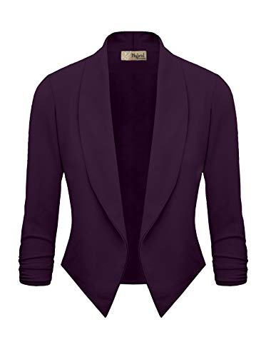 Womens Casual Work Office Open Front Blazer JK1133X Plum 2X