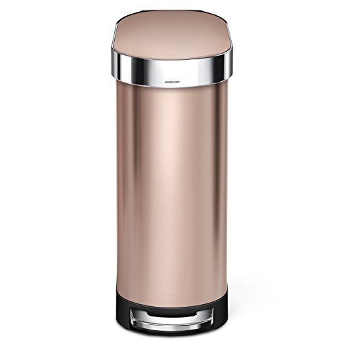 simplehuman 45 Liter / 12 Gallon Stainless Steel Slim Kitchen Step Trash Can with Liner Rim, Rose Gold Stainless Steel