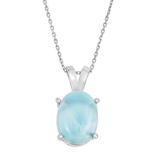 Beaux Bijoux Sterling Silver Natural Larimar Oval Pendant with 18