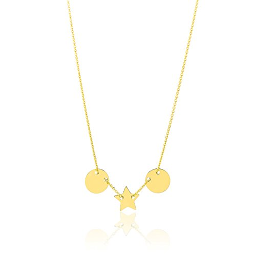 14k Yellow Gold Thin Dainty Necklace with Small Adjustable Disk and Star Charm, 17